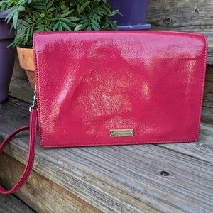 Kate Spade Pink Crinkle Patent Leather Evening Bag